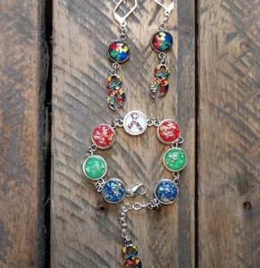 Autism Awareness Bracelet and Earrings Set